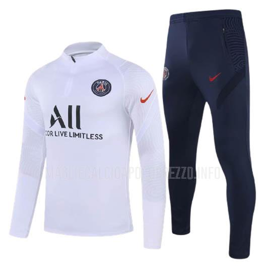 felpa paris saint-germain i bianco 2020-21