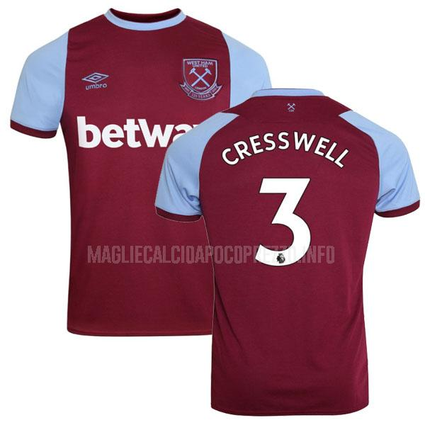 maglietta west ham cresswell home 2020-21